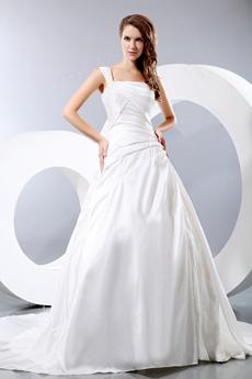 Affordable One Straps Ivory Taffeta Wedding Dress