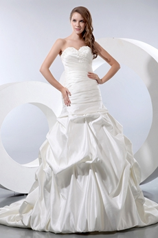 Sweetheart Dropped Waist Matte Satin Pleated Wedding Dress