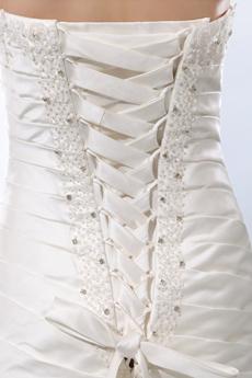 Sweetheart Dropped Waist Matte Satin Pleated Wedding Dress