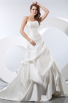 Dipped Neckline Matte Satin Wedding Dress