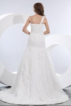 Noble One Shoulder Organza Wedding Dress Dropped Waist