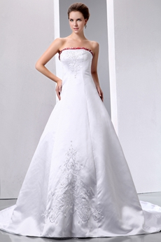 Colorful Red & White Embroidery Satin Wedding Gown