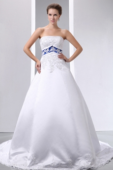 White & Royal Blue Satin Bridal Dress With Lace