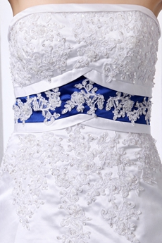 White & Royal Blue Satin Bridal Dress With Lace