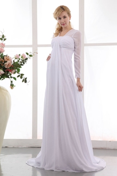 Long Sleeves Chiffon Empire Maternity Wedding Dress