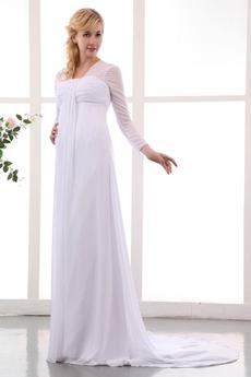 Long Sleeves Chiffon Empire Maternity Wedding Dress