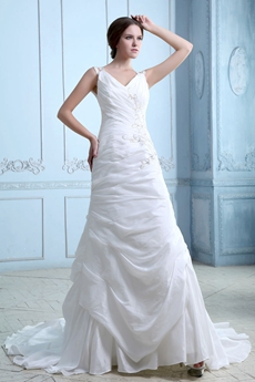 Noble V-neckline A-line Taffeta Wedding Dress
