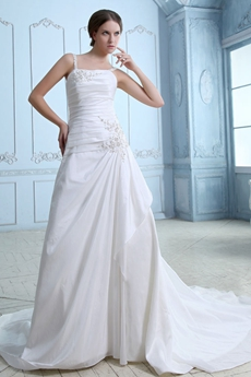Noble Spaghetti Straps Dropped Waist Satin Wedding Dress