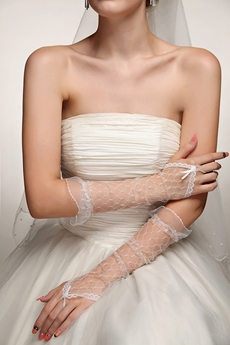 Bohemian Fingerless Tulle Wedding Gloves