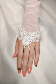 Fingerless Fishnet Wedding Gloves With Appliques