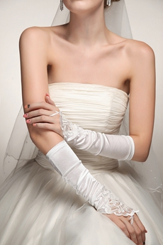Vintage Fingerless Satin Gloves For Wedding