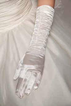 Ivory Ruched Elbow Wedding Gloves