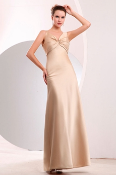 Modest V-neckline Ankle Length Champagne Homecoming Dress