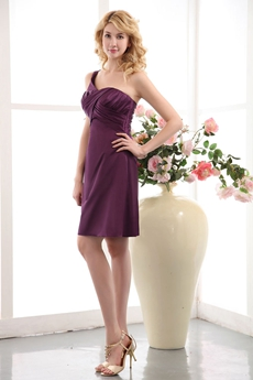 Glamour Single Straps Grape Satin Wedding Party Dress