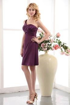 Glamour Single Straps Grape Satin Wedding Party Dress