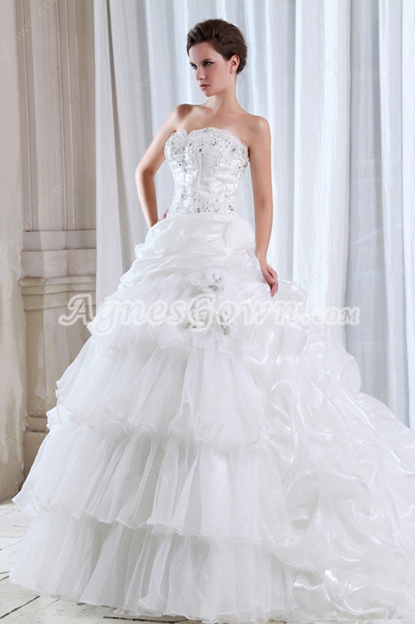 Breathatking Ball Gown Organza Wedding Dress With Great Handwork