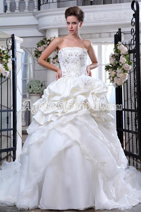 Beautiful Organza & Taffeta Ball Gown Cream Bridal Dress
