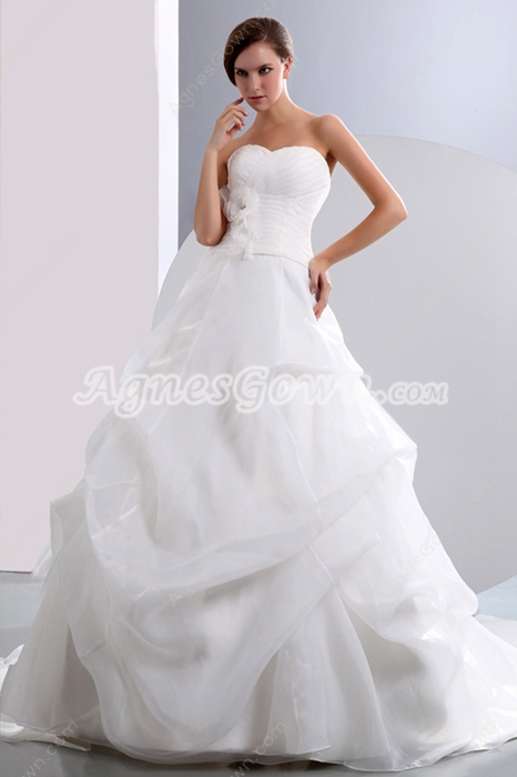 Fancy Organza Ball Gown Wedding Dress Corset Back