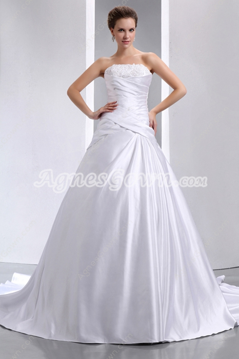 A-line Satin Wedding Dress Under 200
