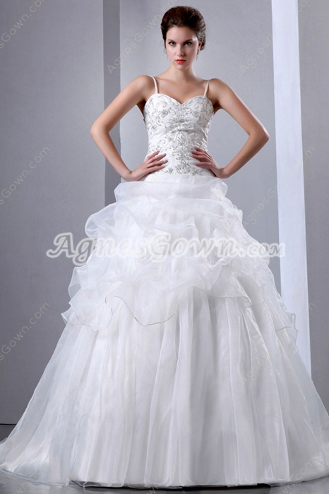 Classic Organza Embroidery Wedding Dress With Beads