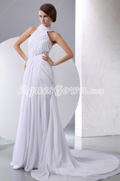 Casual Halter High Collar White Destination Wedding Dress