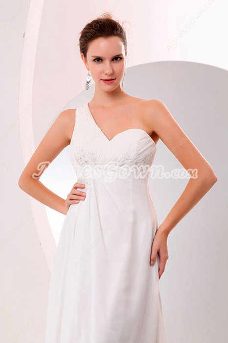 Casual One Shoulder High Low Beach Wedding Gown