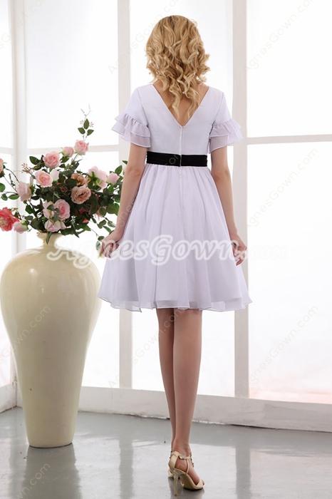 Short Sleeves Knee Length White Chiffon Beach Wedding Dress