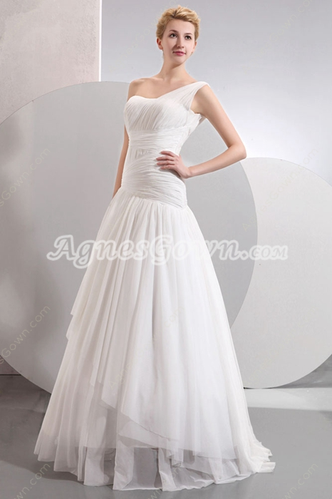 Asymmetrical Waist One Shoulder Beach Wedding Gown