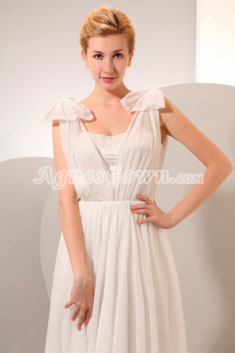 Ivory Chiffon Wedding Dress For Pregnancy Brides