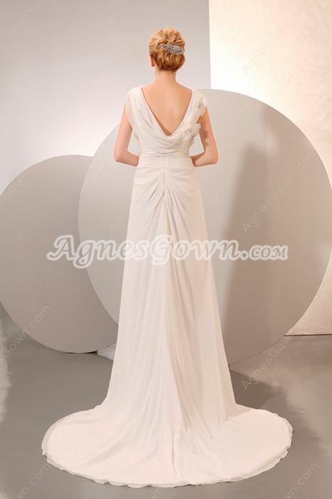 Casual V-Neckline Ivory Destination Wedding Dress