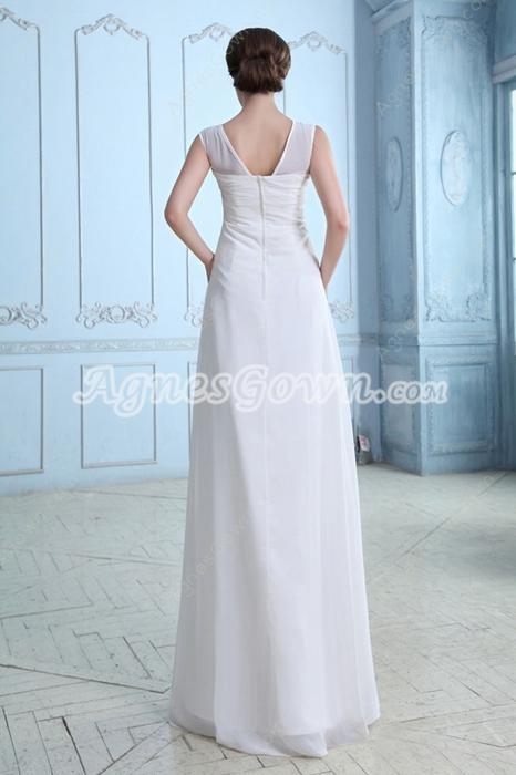 Straight Full Length White Chiffon Casual Beach Wedding Dress