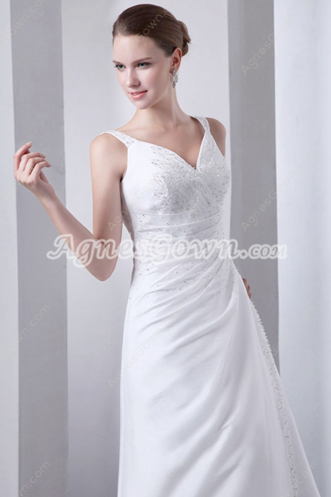 Glamour Beaded Beach Satin Wedding Gown