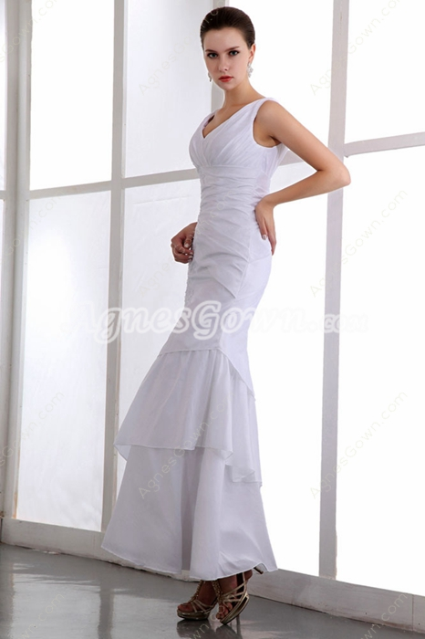 Ankle Length Casual Beach Wedding Gown