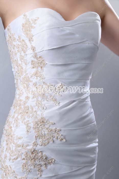 Graceful Sheath Full Length Beach Wedding Dress Full Pleated
