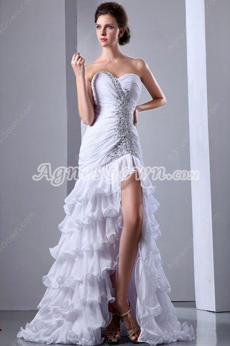Modern Dropped Waist Summer Hawaii Wedding Dress High Slit