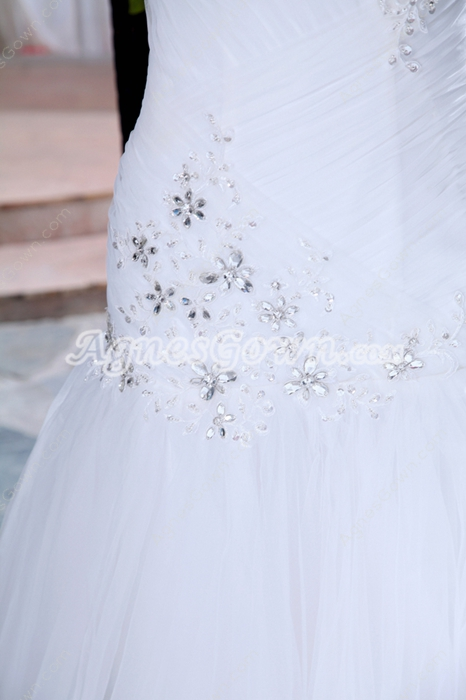 Fabulous One Shoulder Sheath Tulle Wedding Dress