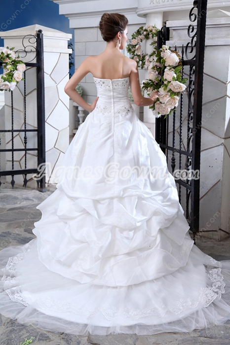 Flattering Taffeta And Tulle Wedding Dress With Rosette