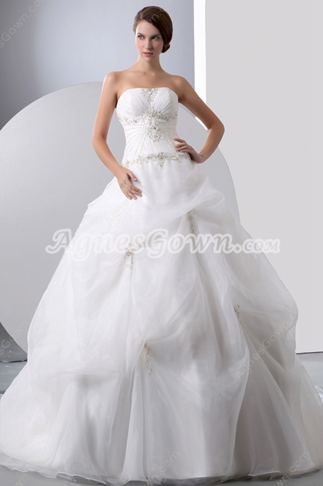 Strapless Ball Gown Organza Embroidery Wedding Dress