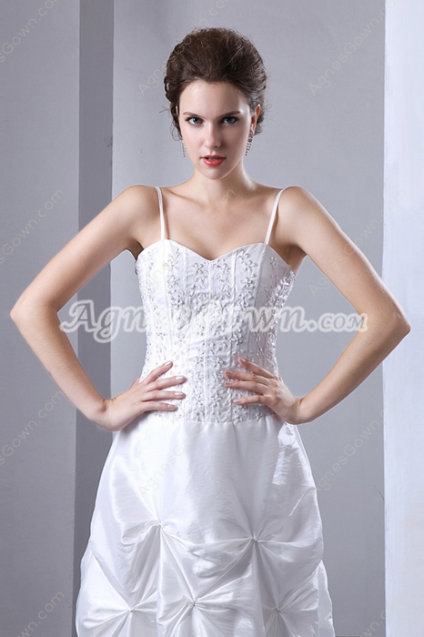 Noble Taffeta Simple Wedding Dress With Beads