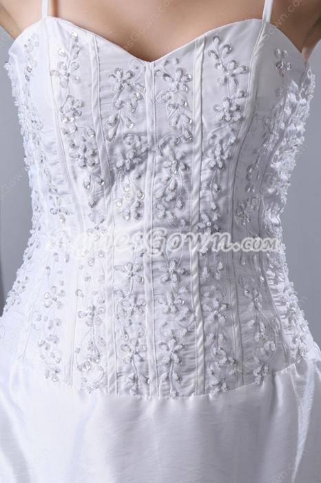 Noble Taffeta Simple Wedding Dress With Beads