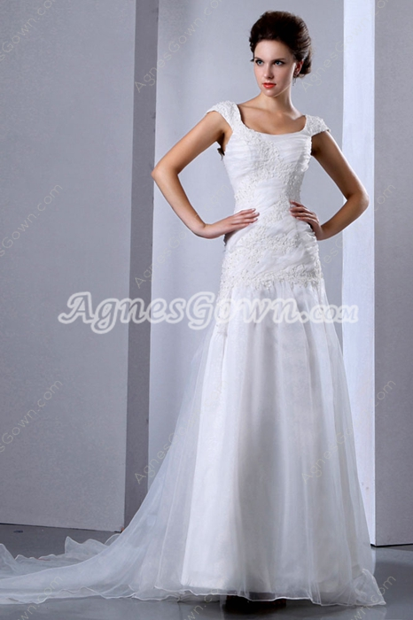 Inexpensive Organza Princess Wedding Dress Dropped Waist