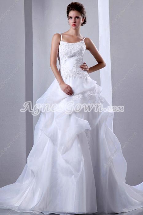 Beautiful Organza Princess Wedding Dress With Lace Appliques