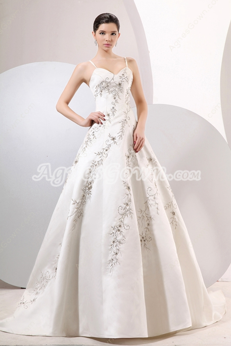 Noble Satin Wedding Dress With Silver Embroidery