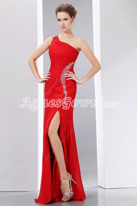 Noble One Shoulder High Slit Red Evening Dress