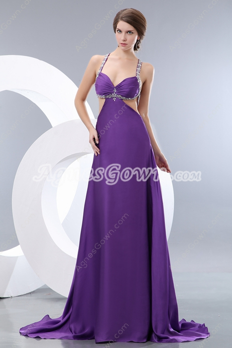 Sexy Crossed Straps Back Eggplant Evening Dress
