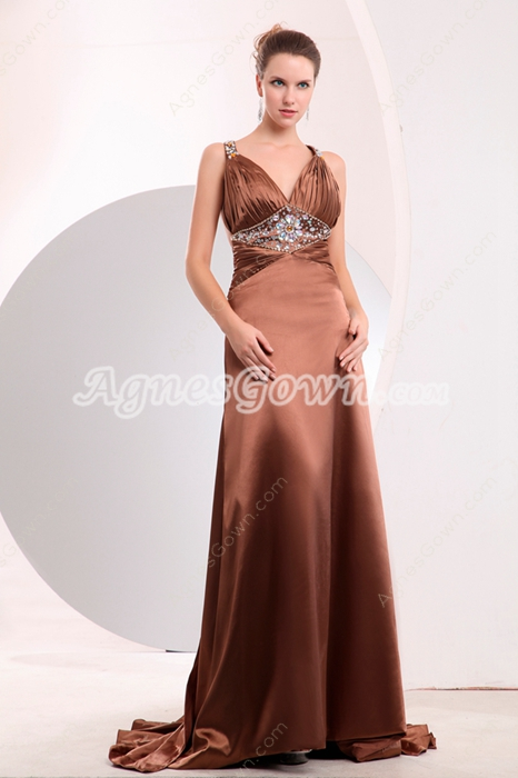 Sweetheart A-line Full Length Copper Satin Evening Dress