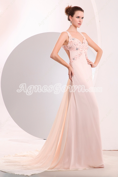 Delicate Straps A-line Pink Chiffon Celebrity Evening Dress