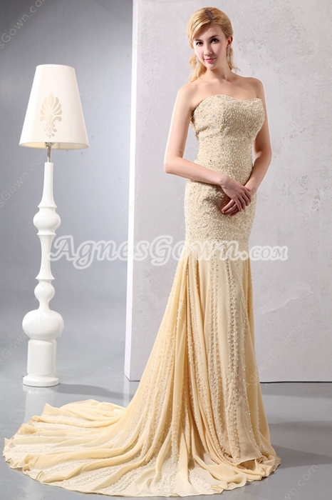Luxury Sheath Full Length Champagne Beaded Celebrity Evening Dress