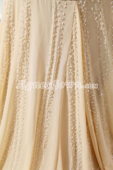 Luxury Sheath Full Length Champagne Beaded Celebrity Evening Dress