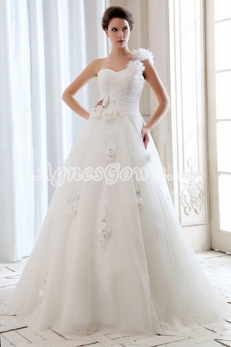 Glamorous Fairytale One Straps Princess Wedding Dress